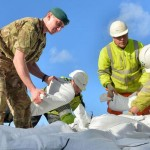 Royal Marines have been helping with the placing of sandbags on the Somerset Levels to boost flood defences.