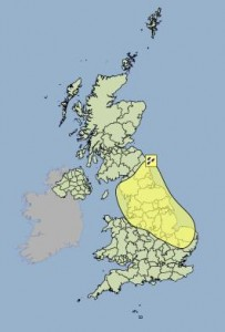 Yellow weather warning for the North of England.